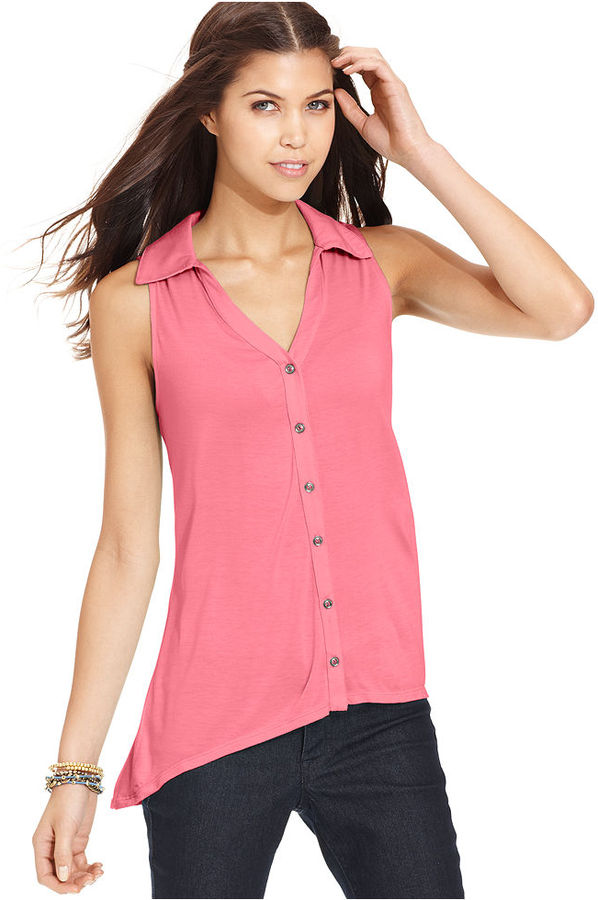 6 Degrees Juniors Top, Sleeveless High-Low