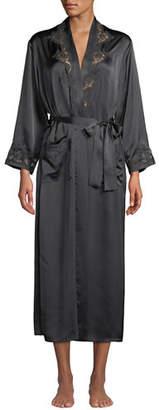 Vivis Katiuscia Lace-Trim Long Silk Robe