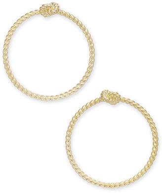 Kate Spade Gold-Tone Knot Textured Drop Hoop Earrings