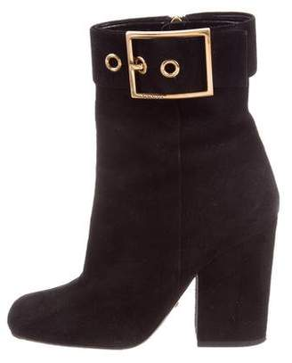 Gucci Suede Buckle Ankle Boots
