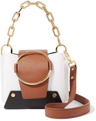 Yuzefi - Delila Mini Color-block Textured-leather Shoulder Bag - White