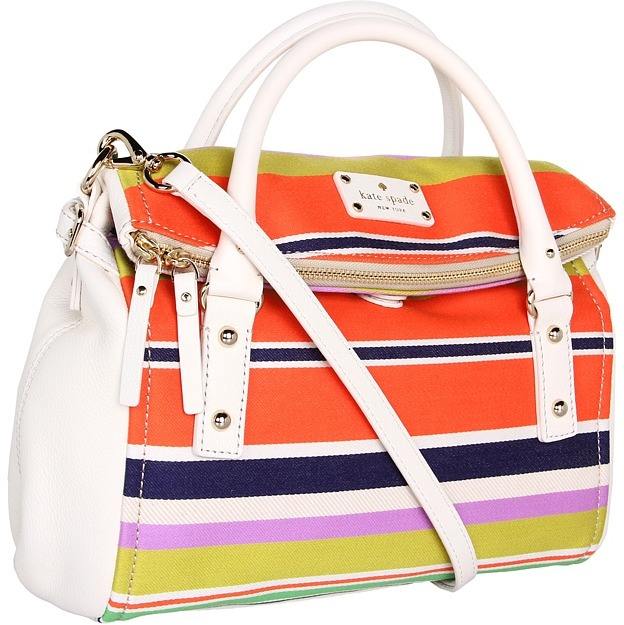 Kate Spade Cobble Hill Stripe Small Leslie (Multi) - Bags and Luggage