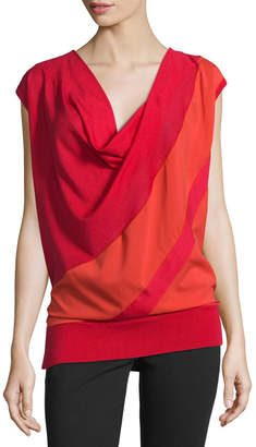 CNC Costume National Cap-Sleeve Draped Two-Tone Top, Red