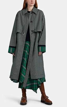 Cédric Charlier Women's Plaid Trench Coat - Grn. Pat.