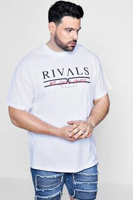 boohoo Big And Tall Rivals Slogan Print T-Shirt