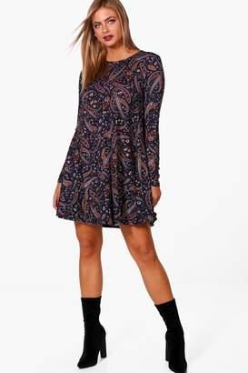 boohoo Paisley Brushed Knit Swing Dress