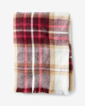 Express berry and ivory plaid blanket scarf $39.90 thestylecure.com