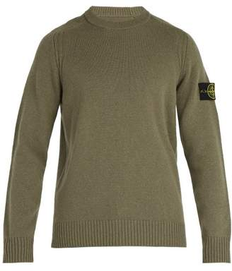 Stone Island Crew Neck Wool Blend Sweater - Mens - Khaki