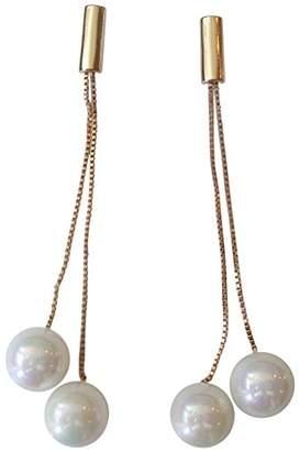 Kenneth Jay Lane Double Chain/White Pearl Drop Earring