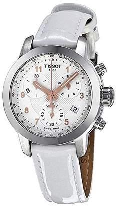 Tissot Women's Prc 200 T055.217.16.032.01 White Leather Swiss Chronograph Watch
