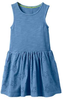 Boden Mini Girls' Jersey Broderie Dress, Blue