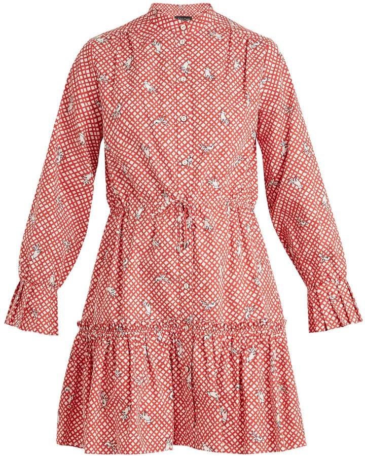 Saloni Billie hand-print checked-cotton dress
