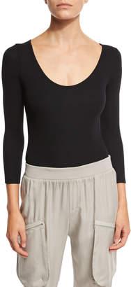 ATM Anthony Thomas Melillo 3/4-Sleeve Ribbed Bodysuit, Black