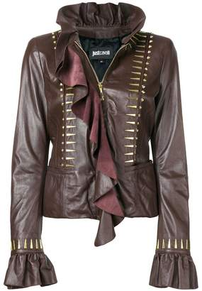 Just Cavalli ruffled leather blouse