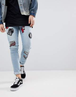 Asos Super Skinny Jeans In Light Wash Blue With Biker Patches
