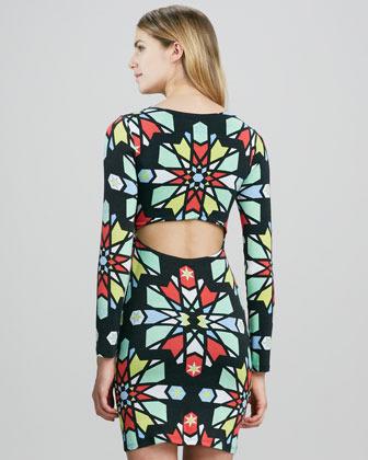 Mara Hoffman Printed Long-Sleeve Dress with Cutout Back
