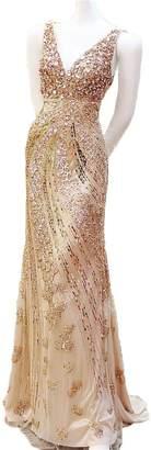 Dydsz Women's V Neck Mermaid Long Evening Dresses Formal Gowns Wedding Beaded D261