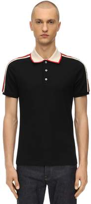 Gucci Logo Tape Stretch Cotton Pique Polo