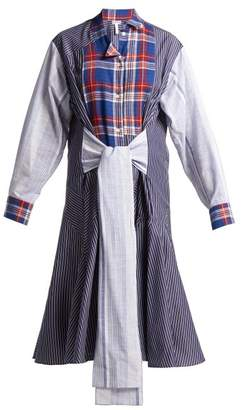 Loewe Tie Front Plaid And Stripe Panel Cotton Dress - Womens - Blue White