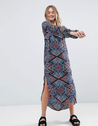 Monki Long Sleeve Printed Midi Dress