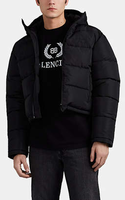 Balenciaga Men's Tech-Ripstop Crop Puffer Jacket - Black