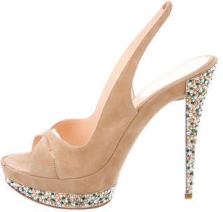 Casadei Jewel Embellished Slingback Sandalss $195 thestylecure.com