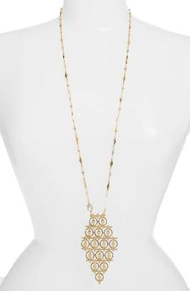 Badgley Mischka Diamond Shaped Long Pendant Necklace