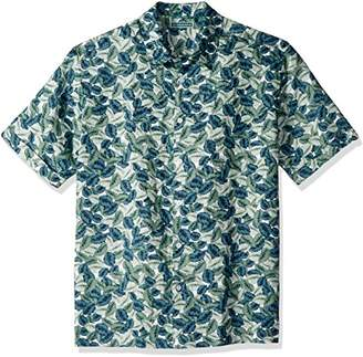 Cubavera Men's Short Sleeve 100% Linen Tropical Print Button-Down Shirt