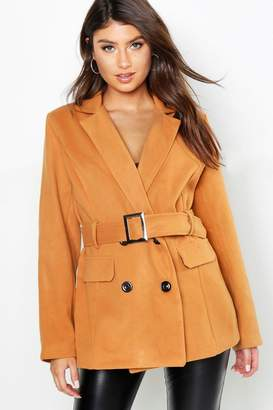 boohoo Belted Double Breasted Wool Look Blazer