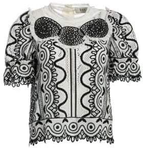Sea Lola Geometric Puff Sleeve Crochet Top