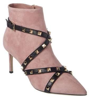 Valentino Studwrap Suede & Leather Bootie.