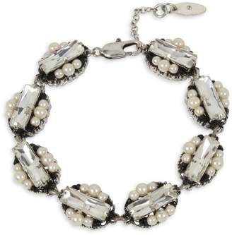 Miriam Haskell Deco Silvertone, Faux Pearl Crystal Cluster Link Bracelet