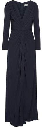 Badgley Mischka Knotted Split-Front Jersey Gown