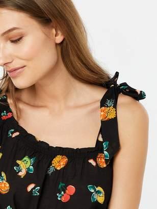 8d621a92274a30 Monsoon Laticia Fruit Print One Shoulder Top - Black