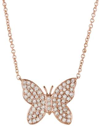 Sydney Evan Diamond Butterfly Necklace - Rose Gold