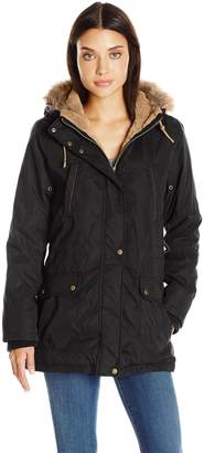 Weathertamer Weather Tamer Women's Anorak Parka Coat with Faux Fur Trimmed Hood