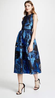 Marchesa Sleeveless Metallic Fils Coupe Cocktail Dress