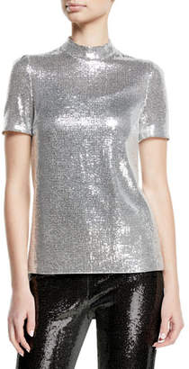 Galvan Mock-Neck Stretch Sequin Galaxy Top
