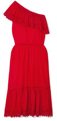 Melissa Odabash Jo One-shoulder Crochet Lace-trimmed Voile Midi Dress - Red