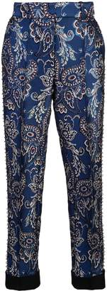Vera Wang grommeted embroidered trousers