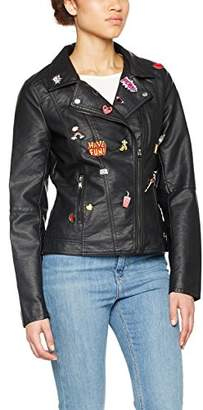 Only Women's Onljohanne Faux Leather Pin Biker OTW Jacket