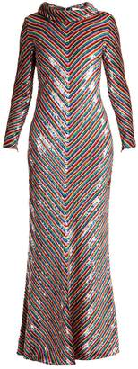 Ashish Rainbow-striped sequin-embellished silk maxi dress