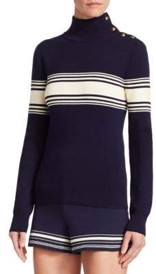 Ralph Lauren Silk Ribbed Pullover With Buttons
