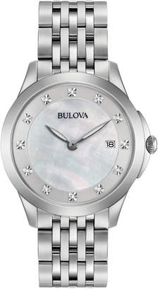 Bulova Women Diamond Accent Stainless Steel Bracelet Watch 36mm 96P174