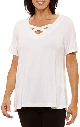 Sag Harbor Short Sleeve V Neck T-Shirt-Womens