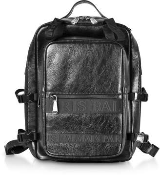 Balmain Black Finn Shiny and Distressed Leather Men's Backpack