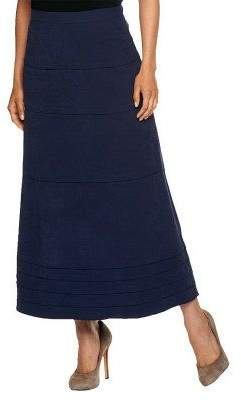 Denim & Co. Faux Suede Tiered Long Skirt