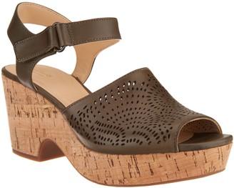 Clarks Artisan Perforated Leather Wedge Sandals - Maritsa Nila