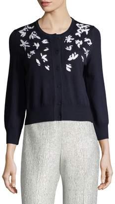 Oscar de la Renta Women's Embroidered Wool Cardigan
