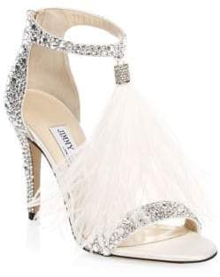 Jimmy Choo Viola Crystal-Embellished& Feathered Sandals
